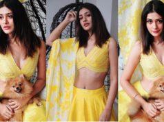 paayal rajput in yellow lehenga choli