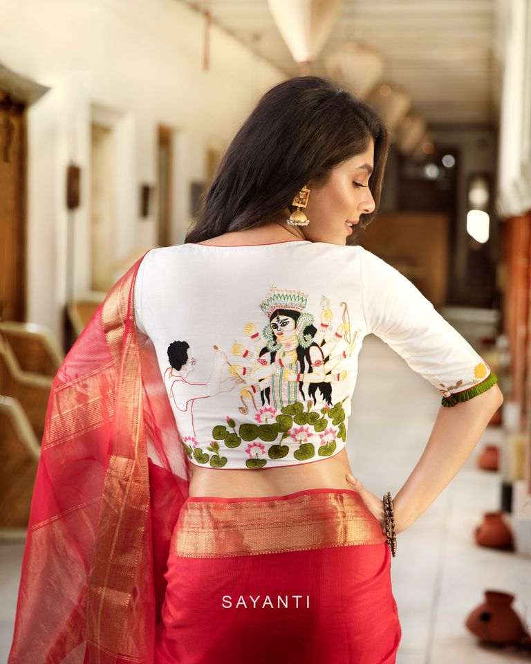 Sayanti ghosh durga puja blouse designs