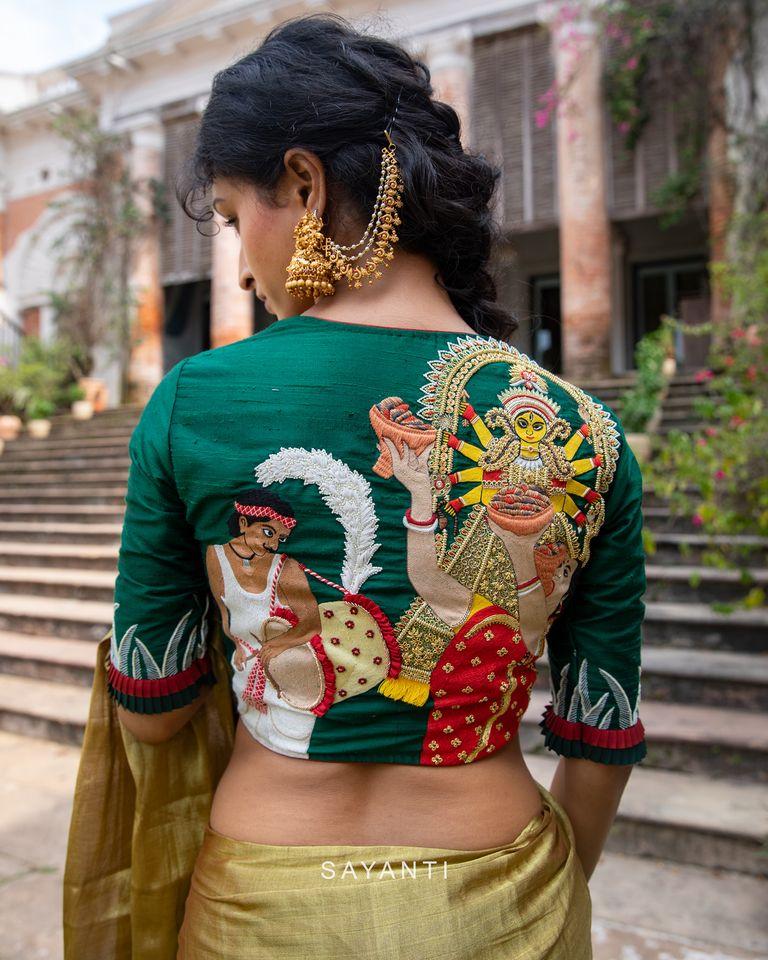 durga maa embroidered saree blouse