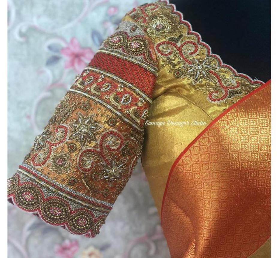gold color embroidered silk saree blouse (1)
