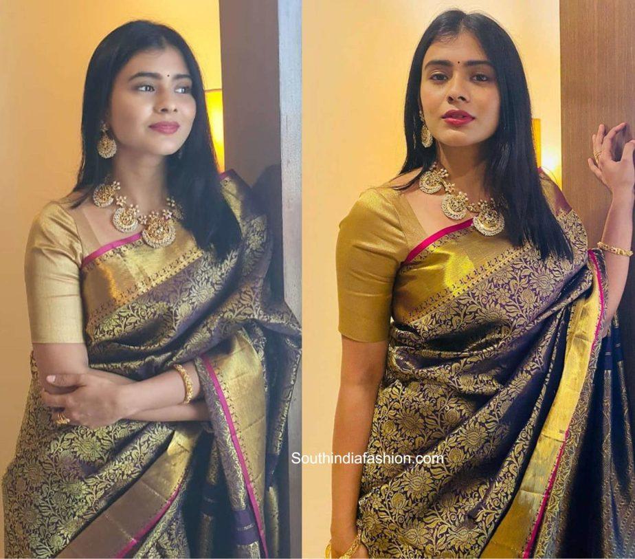 hebah patel black and gold kanjeevaram saree (1)