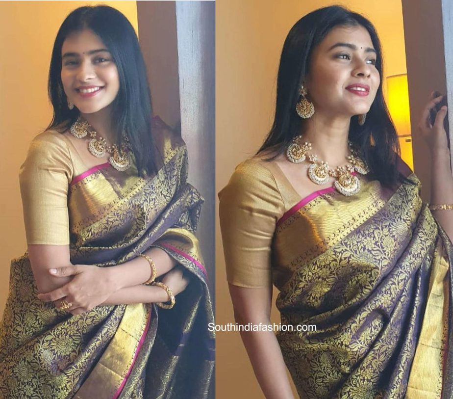 hebah patel black and gold kanjeevaram saree