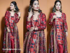 hina khan in a red jacket pant set