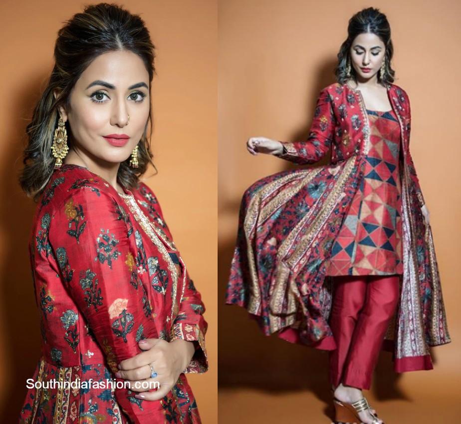 hina khan in a red salwar set for big boss 14