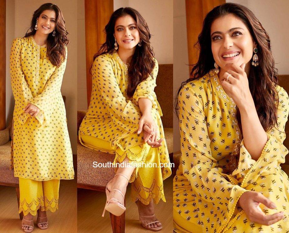 kajol yellow kurta set (1)