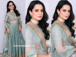 kangana in pastel blue lehenga at her cousin wedding (2)