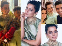 kangana ranaut green saree at her brother pre wedding function (2)