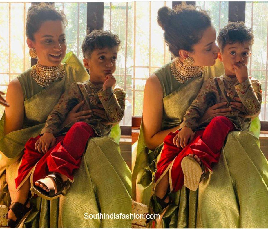 kangana ranaut green saree at her brother pre wedding function