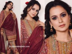 kangana ranaut in maroon kurta set at her brother haldi function