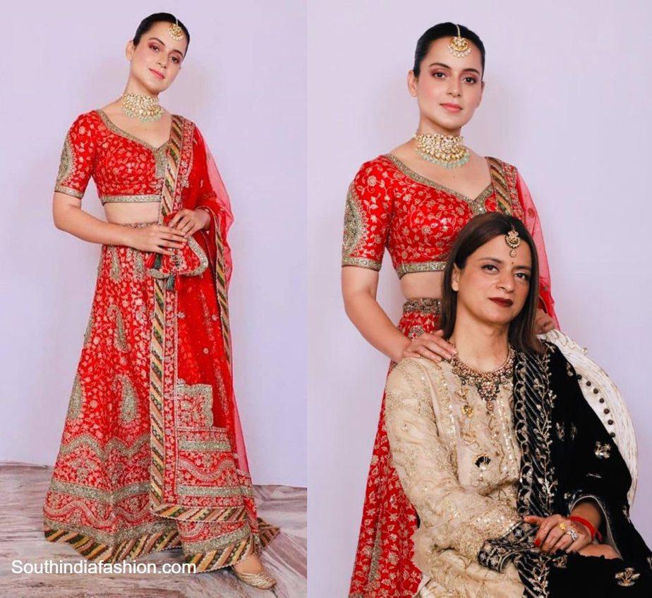 kangana ranaut in red lehenga at her cousin wedding (1)