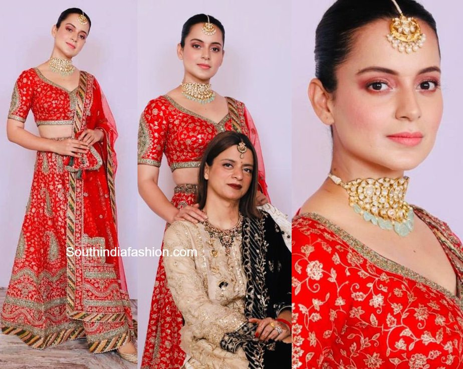 kangana ranaut in red lehenga at her cousin wedding (1)