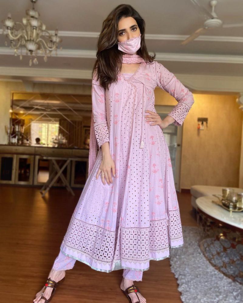 karishmatanna in a pink salwar suit set