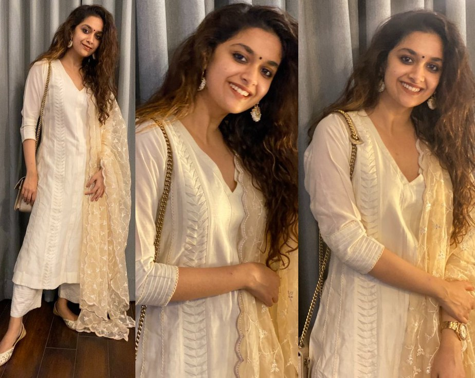 keerthy suresh in a white kurta set for dussehra 2020