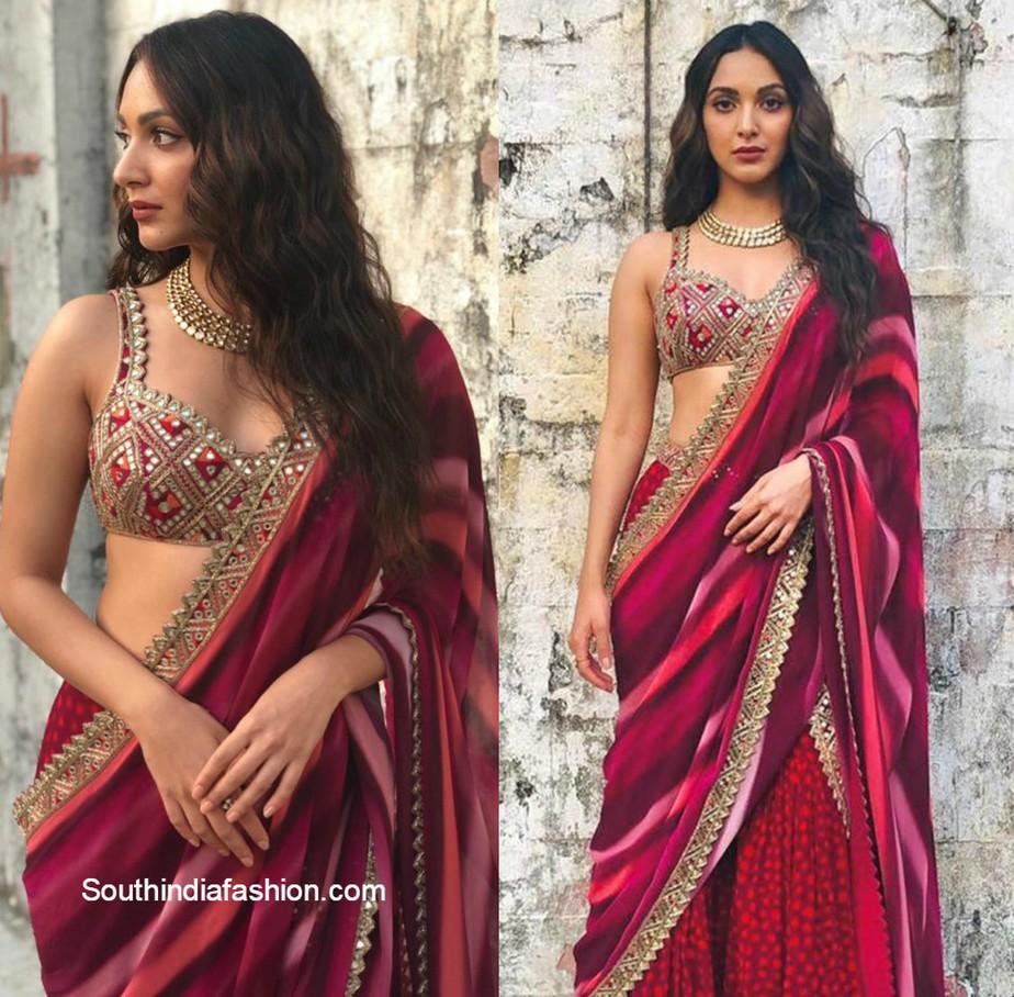 kiara advani in red gharara set