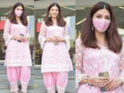 mehreen pirzadaa in a pink kurta set (2)