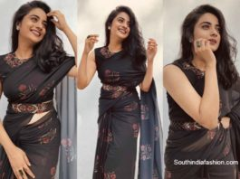 namitha pramod in black georgette saree