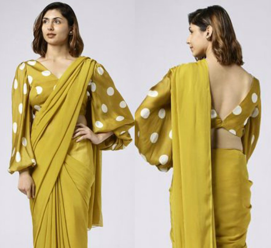 nayantaara mustard saree with lantern sleeves