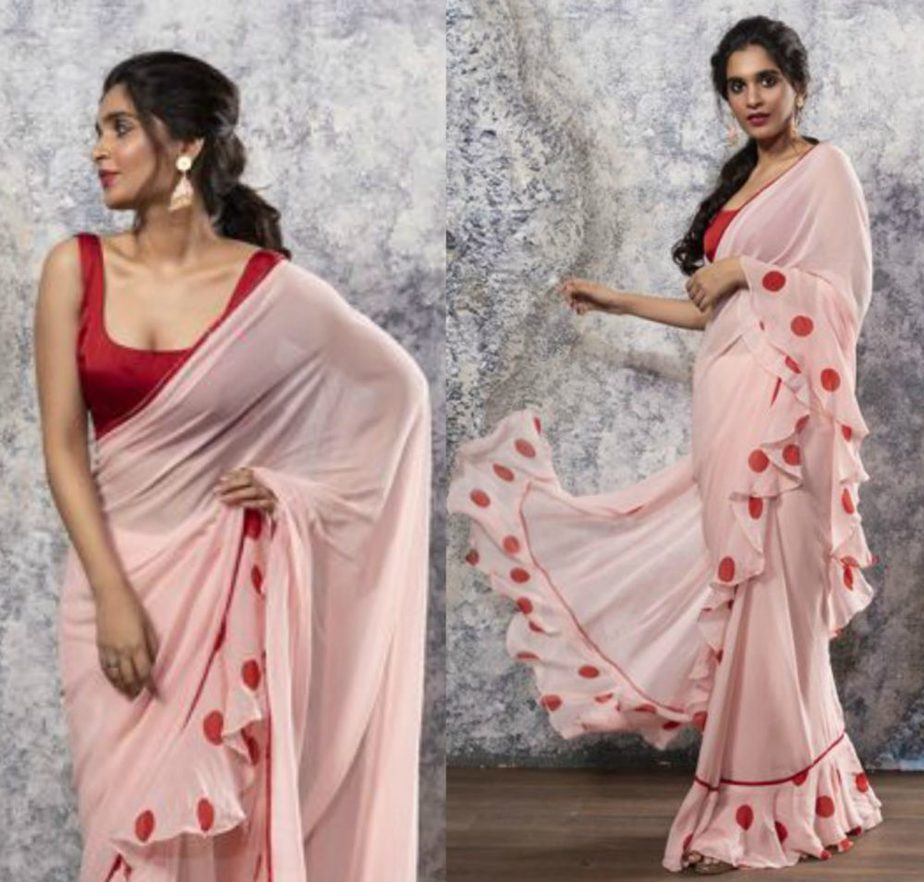 nayantaara red and pink saree with ruffles and polka dots