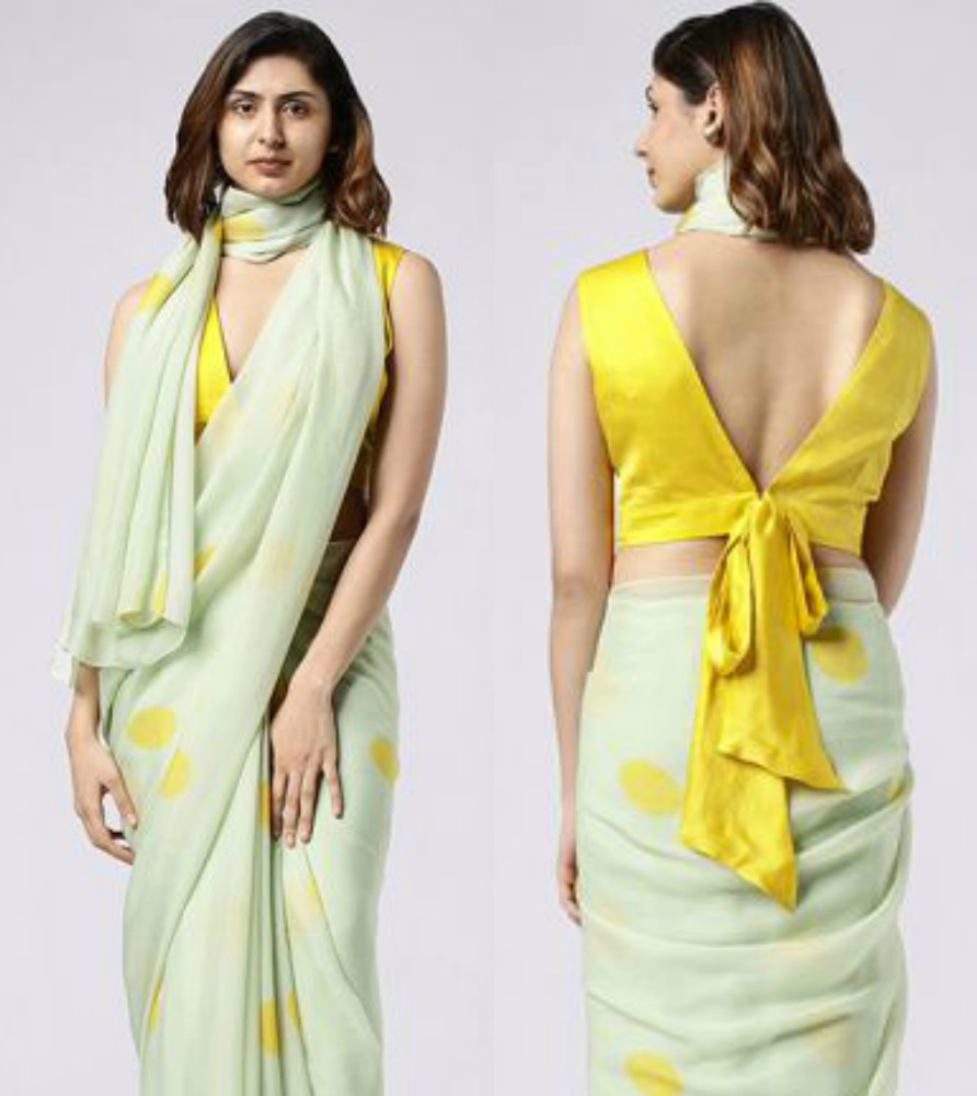 nayantaara saree in polka dots green and yellow