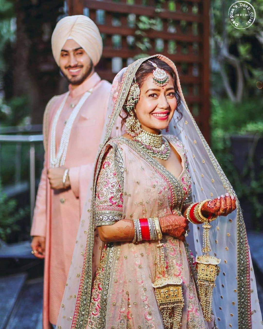 neha kakkar wedding lehenga pink color 2