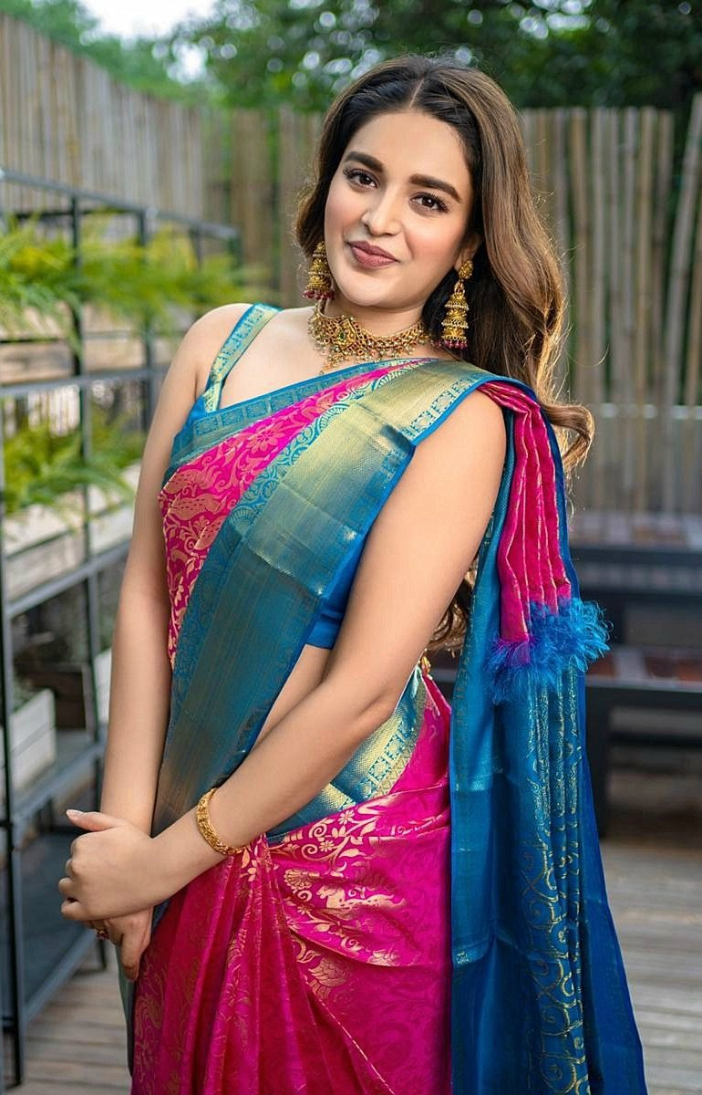 nidhi agerwal in silk traditional saree