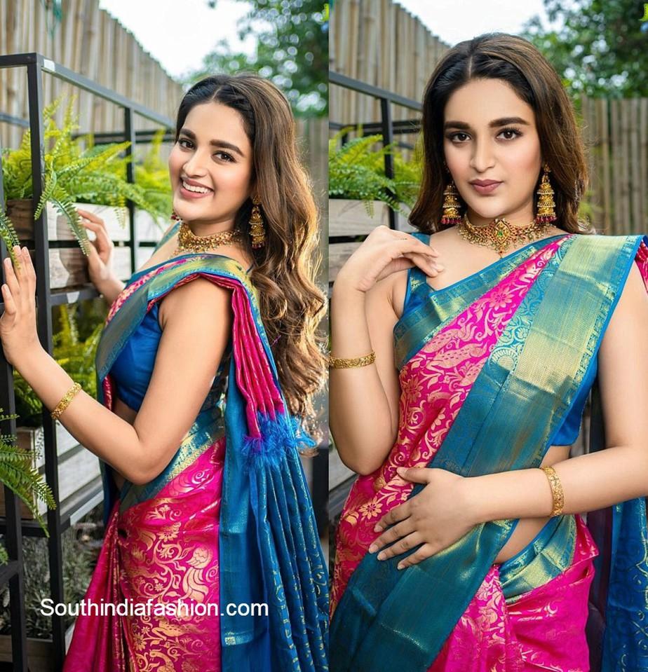 niddhi in traditional pink silk saree
