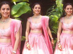 nisha aggarwal at kajal aggarwal mehendi in pink lehenga
