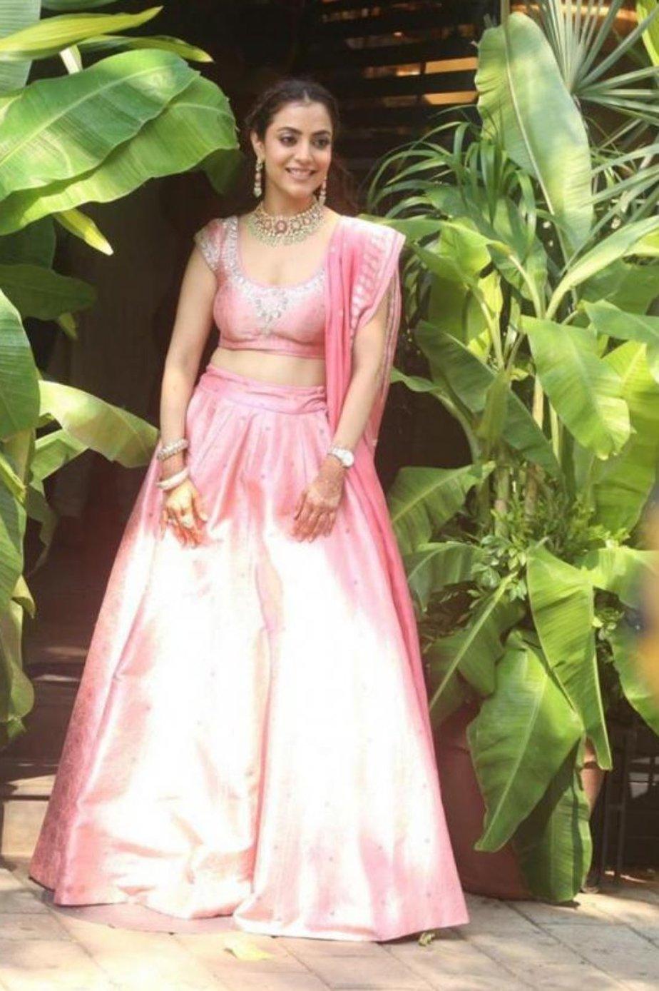 Nisha Aggarwal in Anita Dongre Pink lehenga