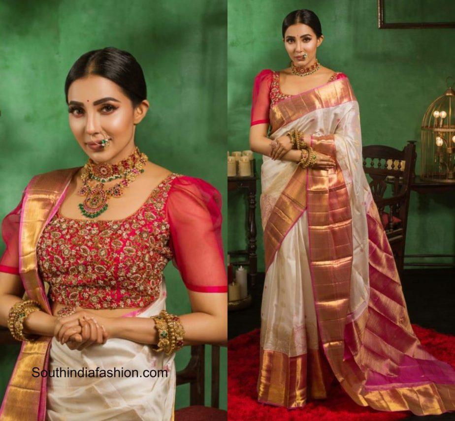 parvati nair in a silk kanjivaram saree by muhurth