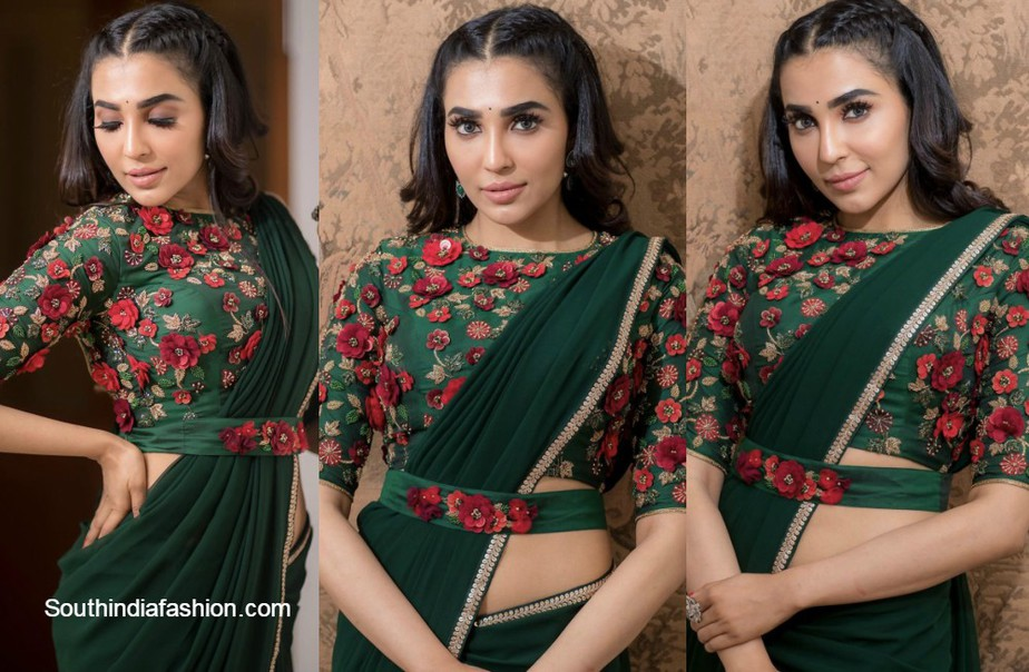 parvati nair in green saree with floral blouse