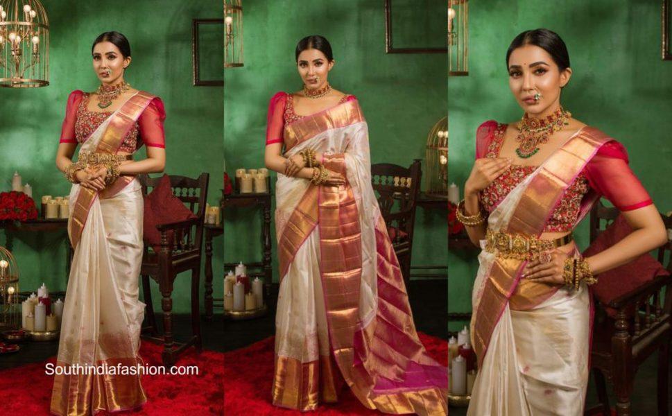 Parvati Nair in a kanjivaram saree by Muhurth