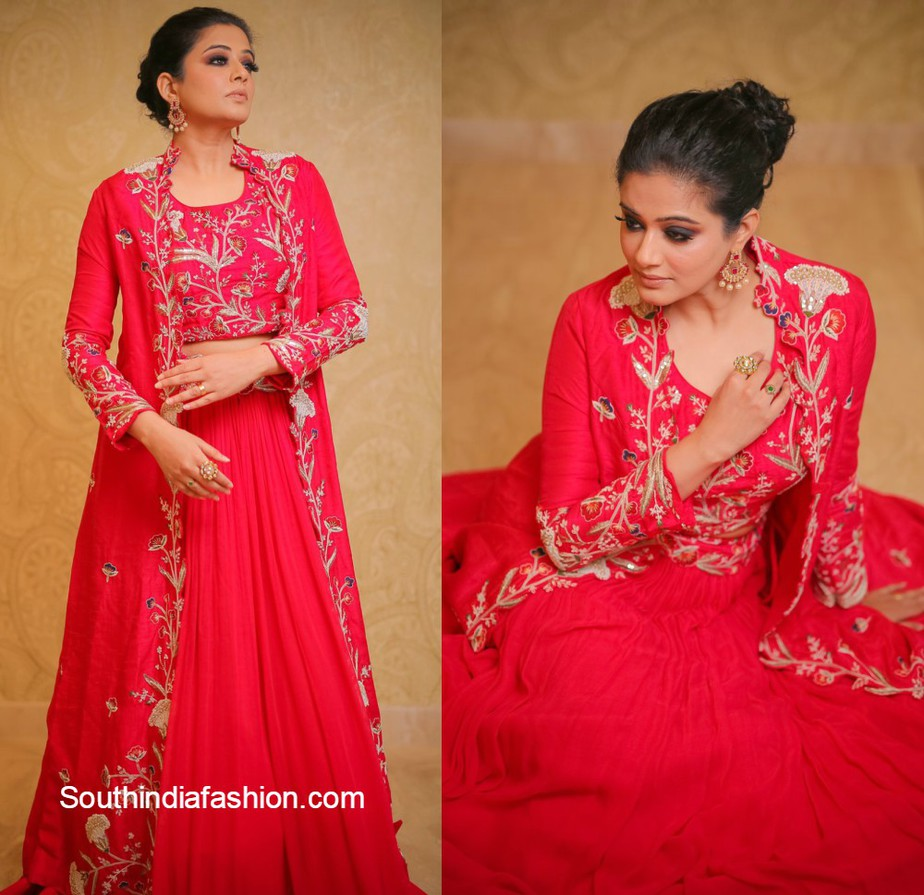 priyamani in red lehenga by samyakk clothing