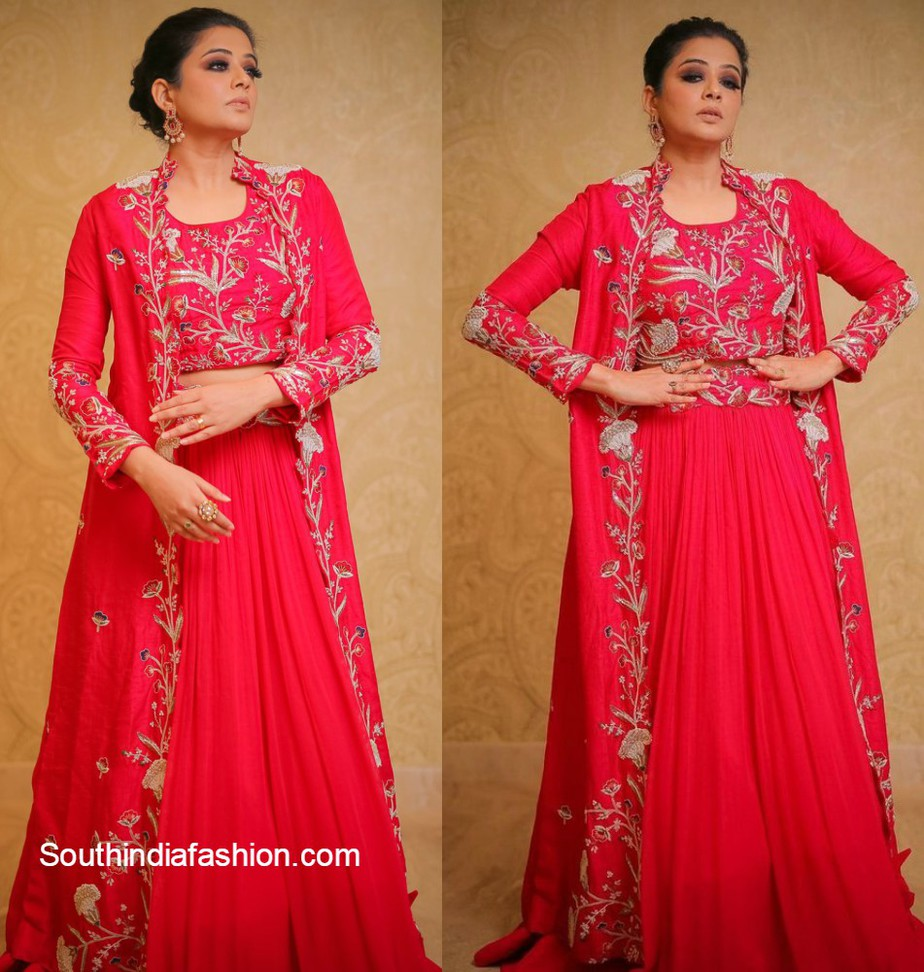 priyamani in red lehenga with jacket