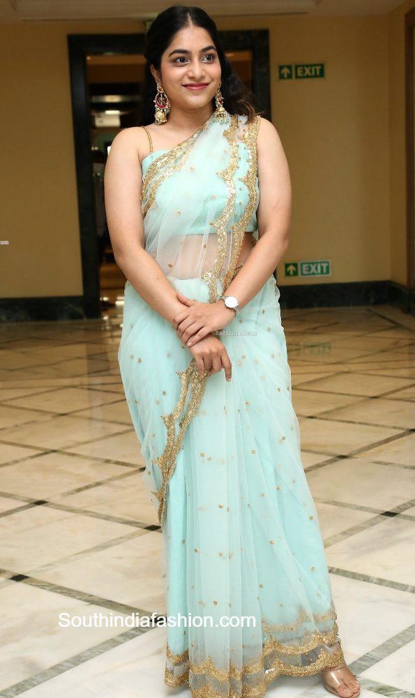 punarnavi bhupalam blue saree at kakatiya 19teen launch (2)