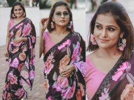ramya nambeesan in black floral saree