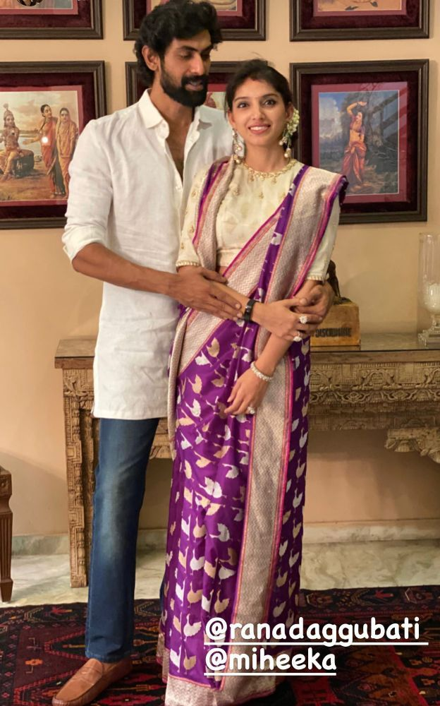 rana daggubati and miheeka bajaj dussehra celebrations (2)