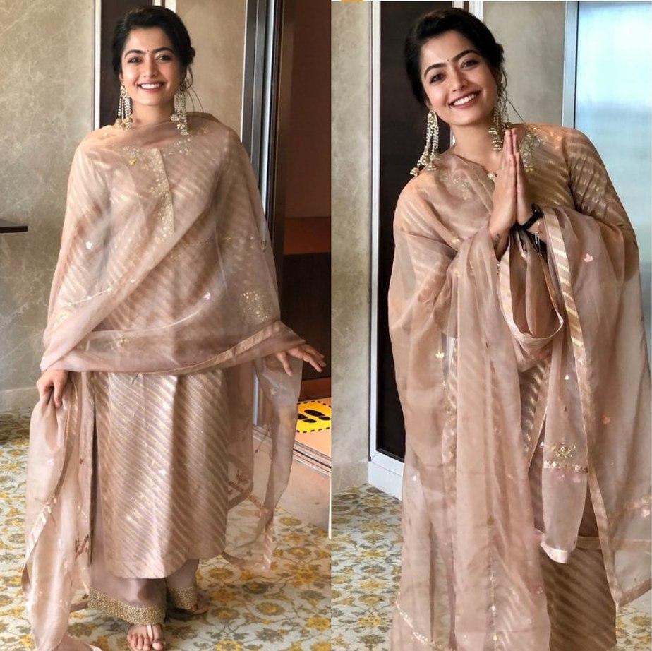 rashmika mandanna in a festive kurta set at her new movie launch event (2)