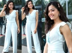 rashmika mandanna in white jumpsuit at sanipro launch