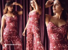samantha akkineni in red floral jumpsuit