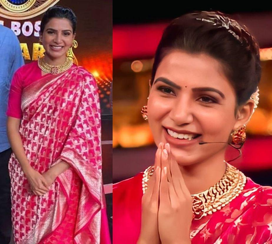 samantha akkineni pink saree bigg boss 2