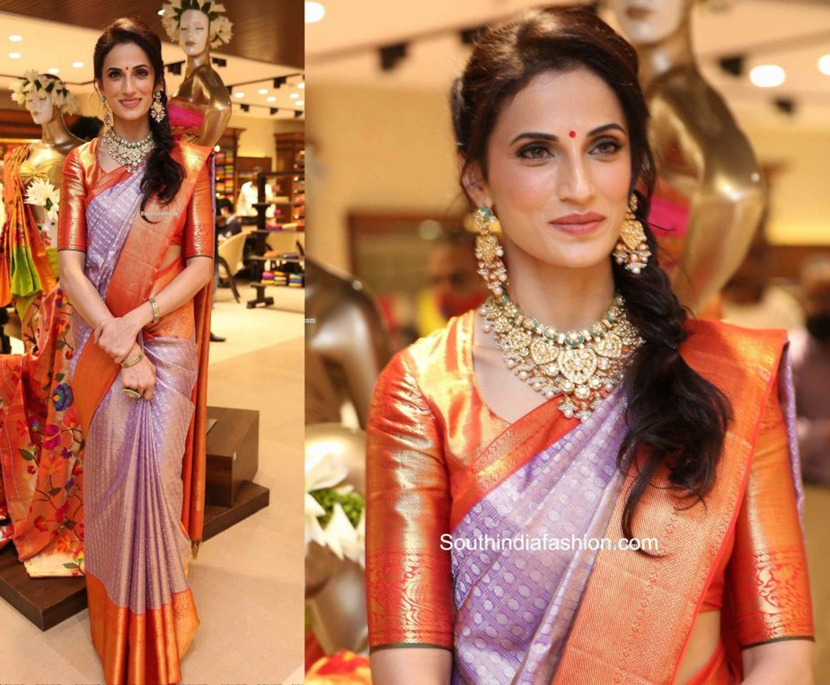 shilpa reddy in lavender kanjeevaram saree at vrk heritage store launch (2)