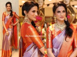 shilpa reddy in lavender kanjeevaram saree at vrk heritage store launch (3)