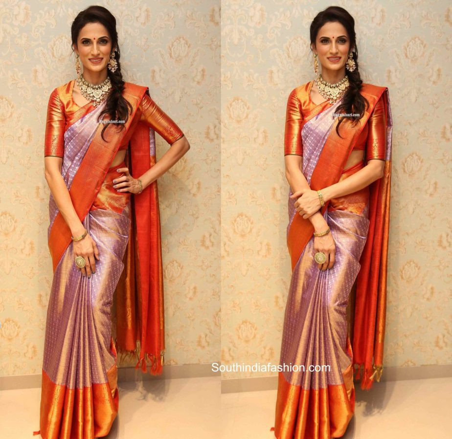 shilpa reddy in lavender kanjeevaram saree at vrk heritage store launch
