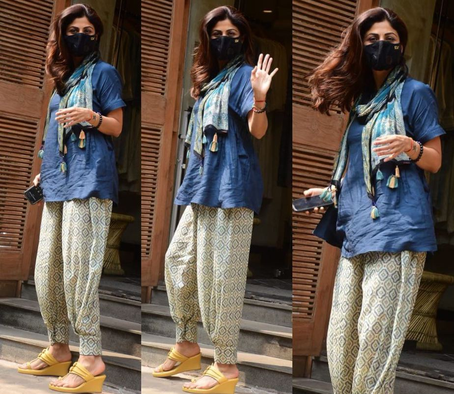 shilpa shetty's casual look in dhoti pants and short kurti