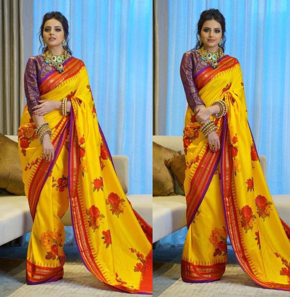 shrenu parikh in yellow kankatala saree (1)