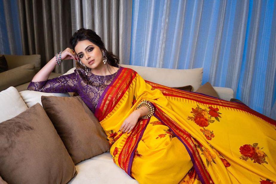 shrenu parikh in yellow floral print saree