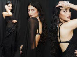 shruti haasan in a sexy black saree (1)