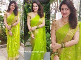 sridevi vijaykumar in a green saree for dussera