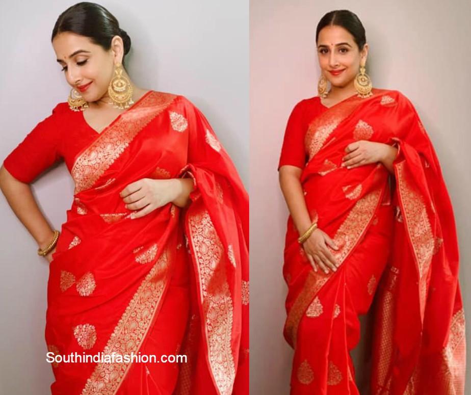 vidya balan in festive red silk saree