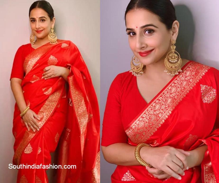 vidya balan in red banarasi silk saree